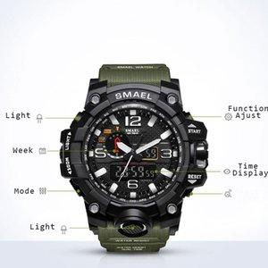 Party Militaire 50m Imperméable Montre-Bracelet À LED Horloge de quartz Male Relogios Masculino 1545 Sport S Shock Watch Hommes