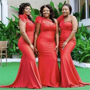 2021 Red African One Shoulder Bridesmaids Dresses Mermaid Ruched Handmade Flowers Satin Long Plus size Prom Evening Party Dress