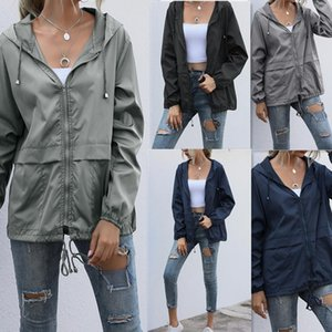 Women Jacket Zip-up Hoodie Lightweight Outdoor Hiking Waterproof Raincoat Loose Coat Running Bicycle Sports Women's Jackets