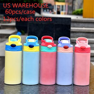 WAREHOUSE DIY 12oz Sublimation Straight Sippy Kids Water Bottles Cup Insulated UV Christmas Blanks Hot and Cold Children Cups with Flip Top A16