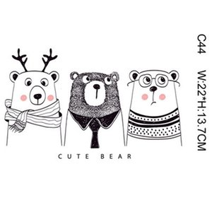 Kid Magic Sticker Cartoon Bear Dear Animal DIY Stickers For T shirt Funny Patches Iron-on Transfers Patches For Clothes