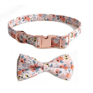 Dog Collars & Leashes Pet Collar Floral All Metal Rose Gold Buckle Bow Small And Medium-sized Dogs Are Beautiful Detachable