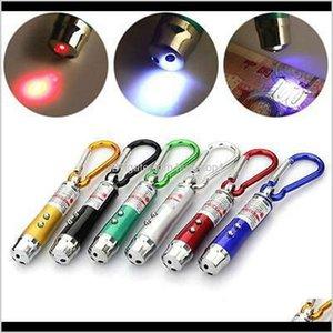 3 em 1 Multifuncional Mini Laser Light Pointer UV LED Tocha Lanterna Chaveiro Caneta Chaveiro Lanternas Zza994 x438E J8QRF