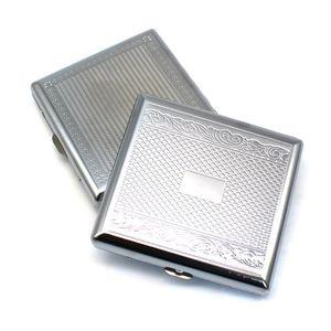 Metal Cigarette Case Embossed Cigarettes Box Stainless Steel 95*87MM 20pcs Regular Boxes Tobacco Holder DWA7395