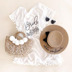 Custom Bride Pom Swimsuit Cover, Bridal Boho Swim Cover Up Honeymoon Outfit Sunhat Straw Tote, Bridesmaid Bacheloratte Gifts Party Favor
