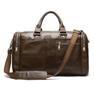 Men's Genuine Leather Travel Bag Multifunções Retro Quadrado Duffle Masculino Excituição de Negócios Zipper Bolso Bolsas Duformas