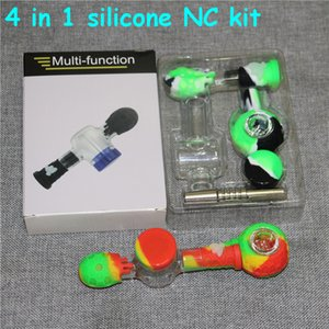4 in 1 Silicon Smoking Pipe glass pipes silicone nectar collector set with 14mm Titanium Tip Dab Straw Oil Rigs dabber wax tools