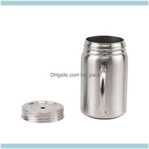 Drinkware Mugs Kitchen, Dining Bar Home Garden 17Oz Stainless Steel Coffee Mug Heat Insulation Mason Jar Cup Portable Dust-Proof Tumbler Wit