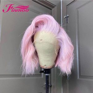 Bob Pink Human Hair Wig 613 Blonde Ombre Colored Silver Lace Front Transparent Straight Brazilian Wigs For Black Women