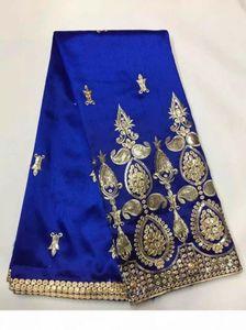 5 jardas PC elegante real azul george tecido de renda com pequenas lantejoulas de ouro bordado rendas de algodão africano para roupas JG5-1