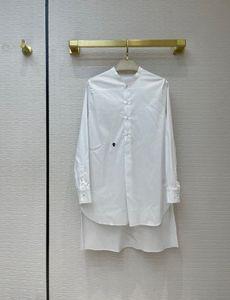 Milan Runway Shirts 2021 Long Sleeve Stand Collar Striped Print Designer Blouses Brand Same Style Women's 0415-7