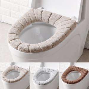 Winter Toilet Seat Covers Warm Solid Color Plush Toilet Pad Type O Bathroom Wc Cushions Accessories Elastic Washable Reusable 3 1zb G2