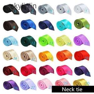Solid Neck tie Casual Skinny mens Polyester colorful 5cm*145cm Classic men handmade necks ties Skinnys Wedding Party FFA060 1000pcs
