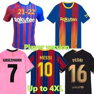 20-21 Versione giocatore Jersey di calcio Pedri F. de Jong Thai Quality Casa e via ANSU Fati Camicia da calcio