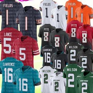 Zach Wilson Justin Fields Jersey New Trevor Lawrence Jersey Trey Lance 8 Kyle Pitts Fútbol Jerseys Negro blanco verde naranja 2021 S-XXXL