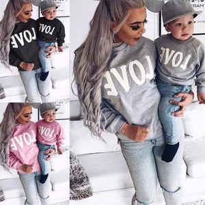 Women's long sleeve round neck letter love parent child sweater om8747