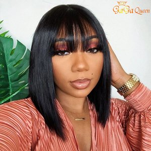 factory direct Short bob human hair wigs Brazilian Straight Wigs For Black Women Natural Color Full Machine Wigs With Bang