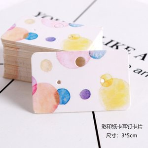 100pcs 3x5cm White Paper Cards with Printing Ear Studs Card Hang Tags Jewelry Display Earrings Cards Favor Label Tags