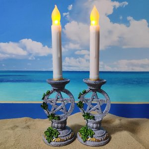 Candle Holders 2PCS Candlestick Pentagram Symbol Of The Womb Underworld Shooting Props Family Decorations Home Deco