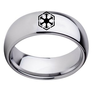 Silver Black Sith Empire LOGO Stainless Steel Band Rings Size 6-13