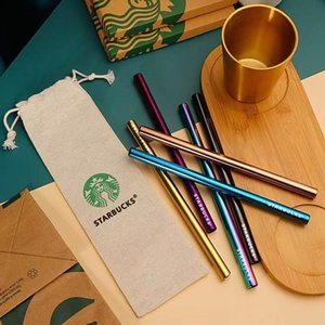 6pcs 1.2cm Diameter Starbucks Stainless Steel Straws 304 Heat-Resistant and Fall-Resistant Recyclable Non-Disposable Drinking traw