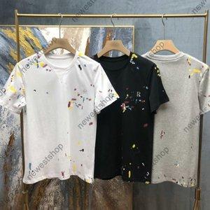 2021 Nouveau été Europe Designer Peinture Print T-shirt T-shirt Mens Letter Imprimer Manchons courts T-shirts T-shirt T-shirt T-shirt Coton Tee-shirt Casual