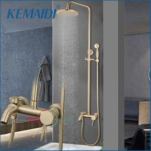 """Torneira de chuveiro de ouro escovado na parede 8 """"de aço inoxidável chuva de banho set swivel spout conjuntos de colunas"""