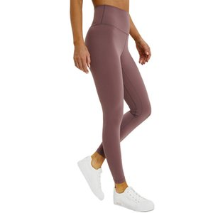 L-32 Yoga Leggings High Waist Gym Clothes Women Leggings Solid Color Yoga Pants Running Fitness Exercise Overall Full Length Tights Workout