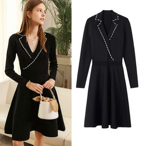 S family Sandro 2021 spring summer new ins style knitted dress suit collar French style annual meeting skirt