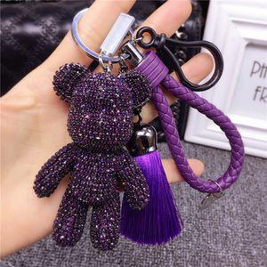Luxury Handmade Rhinestone Crystal Bear Key Chains Wear Glasses Pentagram Cross Bomgom Bears Keychain Car Key Rings Pendant T200804
