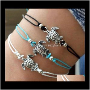 Summer Beach Turtle Shaped Charm Rope String Anklets For Women Ankle Bracelet Woman Sandals On The Leg Chain Foot Jewelry D4Bz7 Wj5Uy