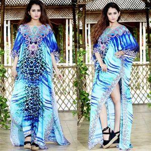 Leopard Print Kaftan Beach Cover Ups Oversize Blue Bohemian Robe Side Slit Maxi Dresses For Women Holiday Loose Straight Pareos1