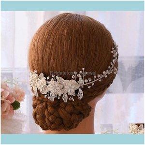 Wedding Jewelrywedding Bridal Flower Headband Crystal Rhinestone Crown Tiara Pearls Hair Chain Jewelry Party Prom Hairband Fashion Ornament