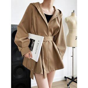 Women's Trench Coats LVOWE Autumn Style Korean Temperament Elegant Skirt-Style Waist Tie Ladies Windbreaker Profile Hooded Jacket Women