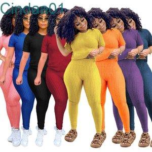 Women Tracksuits Two Pieces Set Designer Clothes Summer Round Neck Solid Colour Short Sleeve Leggings Yoga Pants Sports Suit Outfits
