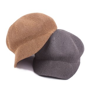Summer Women Paper Straw Beret Knitted Cap Ladies Fashion Street Octagonal Hats Leisure Shade Net Hat Beach Sunhat Sombrero