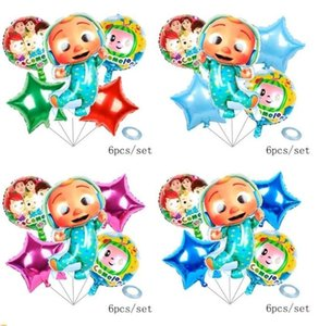 Accessoires de dessin animé 6pcs / lot ballons de film en aluminium de cocomelon six pièces Ensembles à double face Coco Melon Party Ballon décoratif