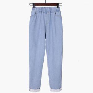 Women's Autumn Harem Vintage High Waist Jeans Womens Pants Full Length Loose Ccowboy Plus Size S-5XL 80881 ROF2