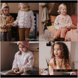 Одежда Детская родильная родильная доставка 2021 осень зима ЛМ бренд дети для девочек Цветочные вязаные свитера Детские детские хлопковые теплые или пуловер