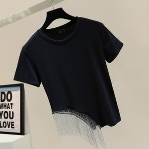 Summer Loose Slim Solid Tops Tassel Beading Patchwork Casual O Neck T Shirt For Women Women's T-Shirt