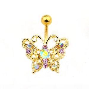 D0685 (Стили смешивания) Золотой цвет живота кольцо красивые бабочки в стиле живота кольцо с пирсингом тела еврельщики пуплы