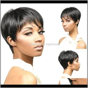 Parrucche sintetiche nero corto obliquo botti africani capelli africani parrucca in fibra ad alta temperatura color naturale fascia GKMRO BIGWQ