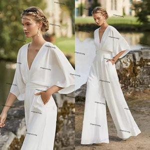 Bridal Culotte Wedding dress Jumpsuit Boho Crepe Simple beach Bridal Suit Bloused V-neckline Low Back vestido de novia