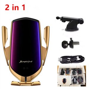 2 in 1 Smart Automatic Clamping R1 Car Wireless Charger Air Vent Windshield Dashboard Mount Phone Holder For Smartphone Fast Charging DHL