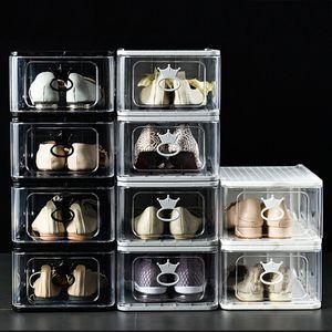 Leiche große harte kunststoff schuhkasten abnehmbar falten stapelbare schuhe boxen organizer behälter staube staubfestes kabinett verdickt transparent feuchtigkeitsrof th0017