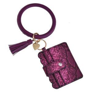 Wallet 25 Colors Tassels Bracelets With Credit Card Leopard Bracelet Keychain Drip Oil Circle Bangle Chains Wristlet KKF1972