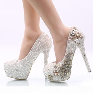 2019 White Pearl Phoenix Wedding Shoes High Heel Rhinestone Stiletto Heel Bridal Dress Shoes Adult Ceremony Prom Pumps Big Size 45