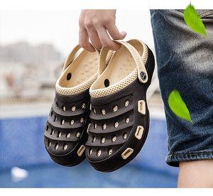 Yaz Moda Erkekler Plaj Terlik Erkek Bahçe Delik Roma Slayt Sandalet Çocuk Açık Kaymaz Wading Ayakkabıları