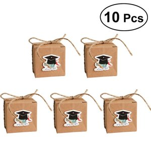 Greeting Cards 10PCS Vintage Kraft Paper Graduation Candy Treat Boxes Gift With Doctoral Tag For Party Favors (Blue Diploma)