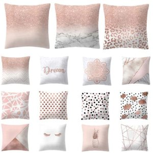 pink Rose Gold Geometric Pillow Cover Cushion Home Decorative Pillowcases Pineapple color high quality letters printed